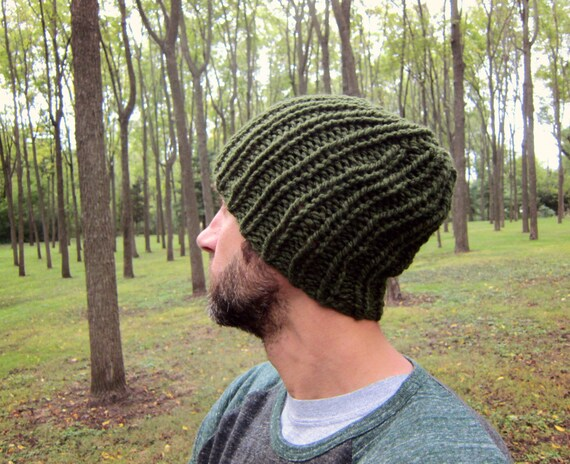 Warm Mens Beanie for Men Knit Hat Green Knitted Hats Oversized  b0899ae4026