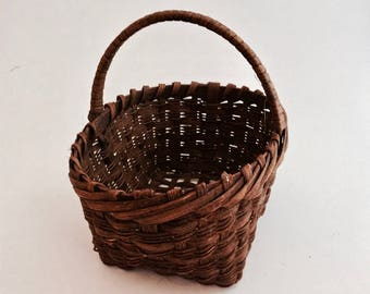 Woven Basket - American Primitive Look Handmade Small Splint Basket - Stained, Signed from 1981