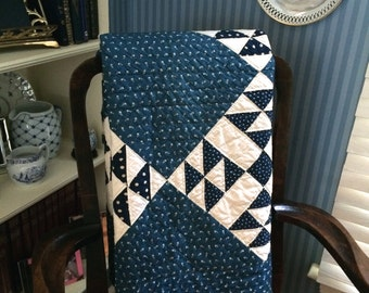 "American Quilt in Handmade Indigo Blue and White - 70"" by 94"" - Double-bed Size"