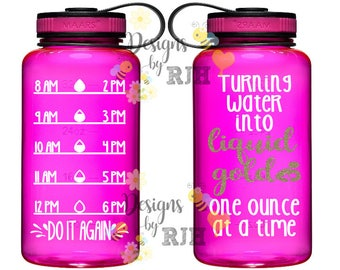 Turning Water Into Liquid Gold Breastfeeding Inspirational Personalized 34oz Tritan Sports Water Bottle with Hourly Reminder Times