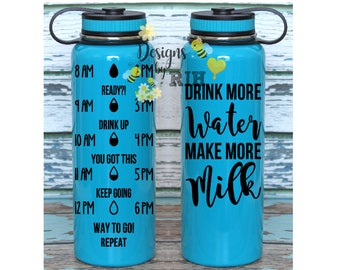 Stainless 40oz Motivational Water Tracker Personalized Water Bottle with Hourly Reminder Times Drink More Water Make Milk Breastfeeding