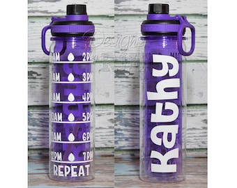 Double Wall 20oz Personalized Motivational Water Tracker Inspirational Water Bottle with Hourly Reminder Times 20 oz