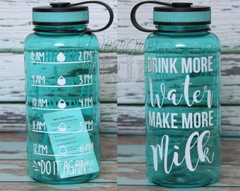 Drink More Water Make More Milk Inspirational Personalized 34oz Tritan Sports Water Bottle with Hourly Reminder Times Breastfeeding