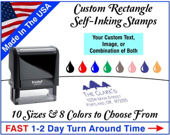 Custom Stamp - Personalized Stamp - Self Inking - Rectangle Rubber Stamp