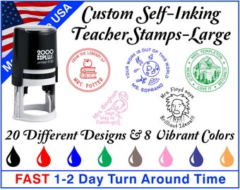 Large Custom Round Self-Inking Teacher Stamps ~ Teacher Ink Stamps ~ Grading Stamps ~ Classroom Stamps ~ With Your Custom Text