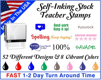 Self-Inking Stock Teacher Stamps ~ Teacher Ink Stamps ~ Grading Stamps ~ Classroom Stamps