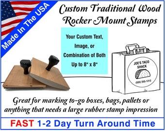 Large Custom Stamp - Custom Rubber Stamp - Custom Logo Stamp - Rocker Mount Stamp