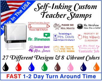Custom Self-Inking Teacher Stamps ~ Teacher Ink Stamps ~ Grading Stamps ~ Classroom Stamps ~ With Your Custom Text