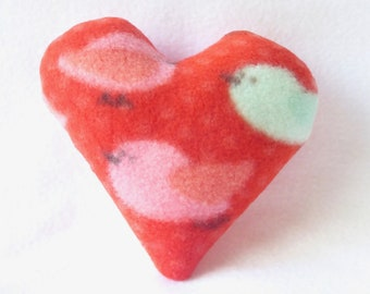 Heart Dog Toy Tiny - Bird Print With Pink Back