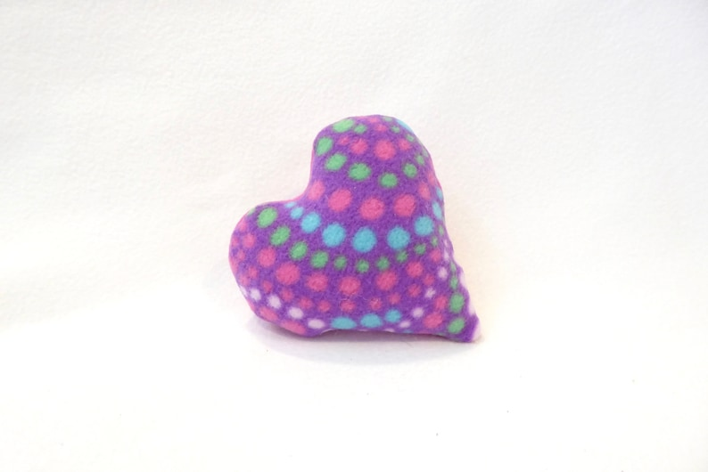 Heart Dog Toy Tiny Purple With Polka Dots and Pink Back