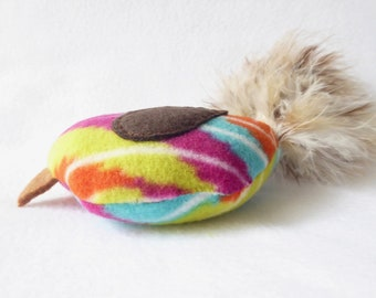 Bird Cat Toy - Multi Color Stripe Print With Variegated Brown Feather