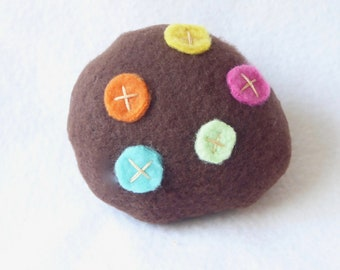 Chocolate Catnip Cookie With Colorful Dots