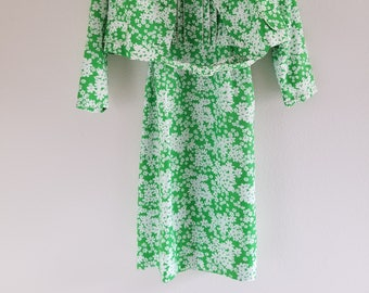 Vintage 1960's Green and White Floral Dress and Jacket