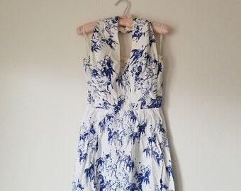 Vintage 1950's Blue and White Wiggle Dress Novelty Print Horses by Alix of Miami