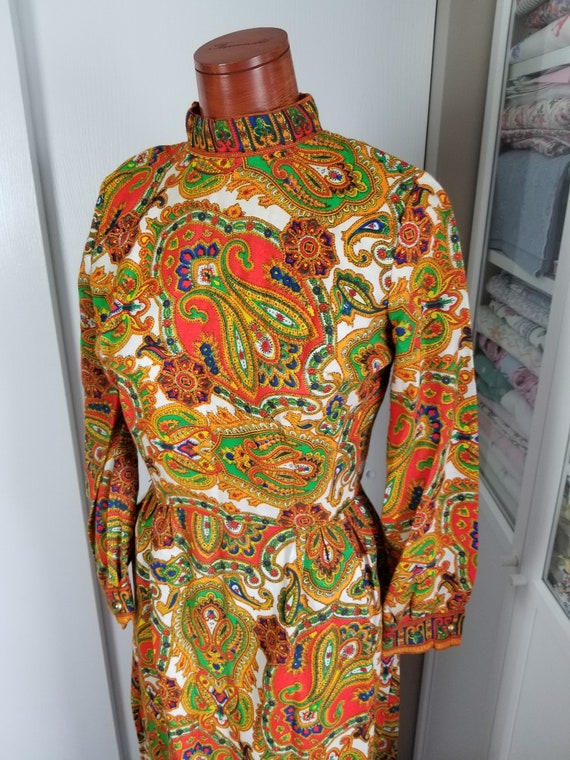 Vintage 1960's or 70's Paisley Maxi Dress with Lo… - image 5