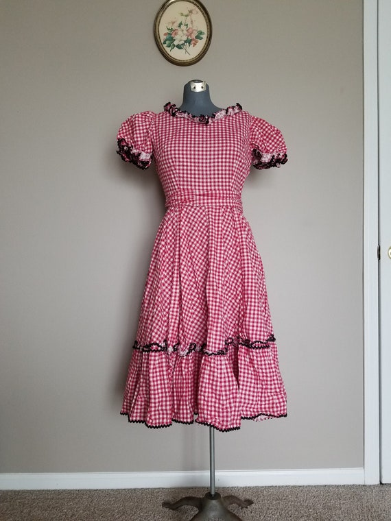 Vintage 1950's Red Gingham Peasant/ Square Dance D