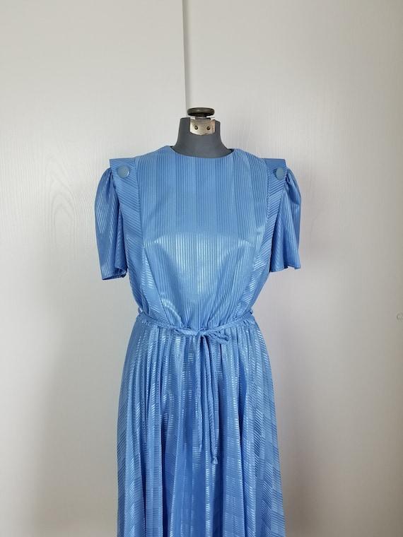 Vintage 1970'S Blue Button Dress