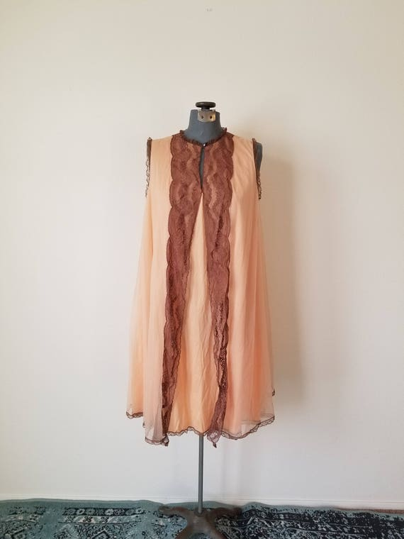 Vintage 60's Orange and Chocolate Peignoir Nightie