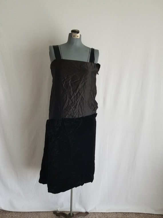 Antique 1920's Black Silk Velvet Underdress/Slip