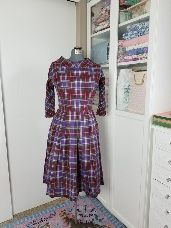 Vintage 1950's Purple and Grey Plaid Pleated Dress