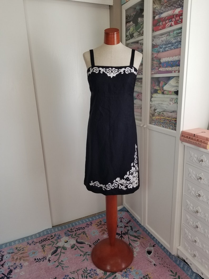 Vintage 1990/'s Black Linen Sheath Dress with White Trim Yves Cossette Depeche Mode Small