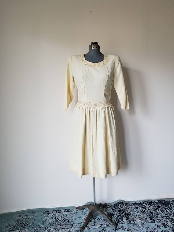 Vintage 40s Courthouse Wedding Dress in Ivory