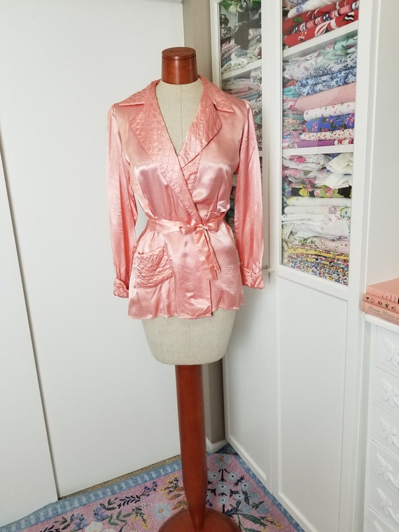 Vintage 1940's Pink Satin Rayon Robe Style Pajama