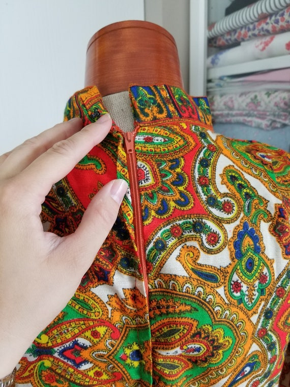 Vintage 1960's or 70's Paisley Maxi Dress with Lo… - image 7