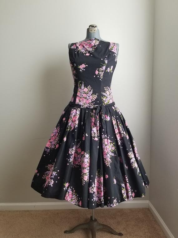 Vintage 1950's Black and Pink Floral Sundress