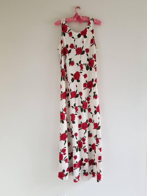 Vintage 1980's Bias cut Rose Print Slip Dress - image 2