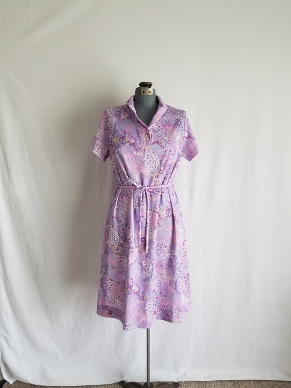 Vintage 1960's Purple Abstract Floral Day Dress La