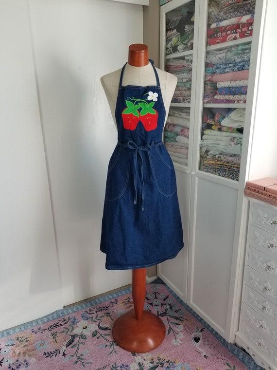 Vintage 1970's Blue Denim with Strawberry Applique