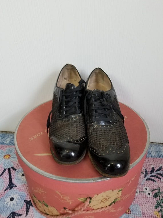 Vintage 1940's Black Lace Up  Summer Shoes Size 8… - image 4