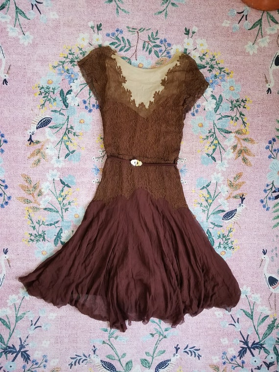 Vintage 1920's/30's Brown Silk and Lace Dress with