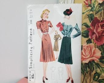 Vintage 1930's Dress And Jacket Pattern Simplicity Pattern 3144 Size 16 Bust 34