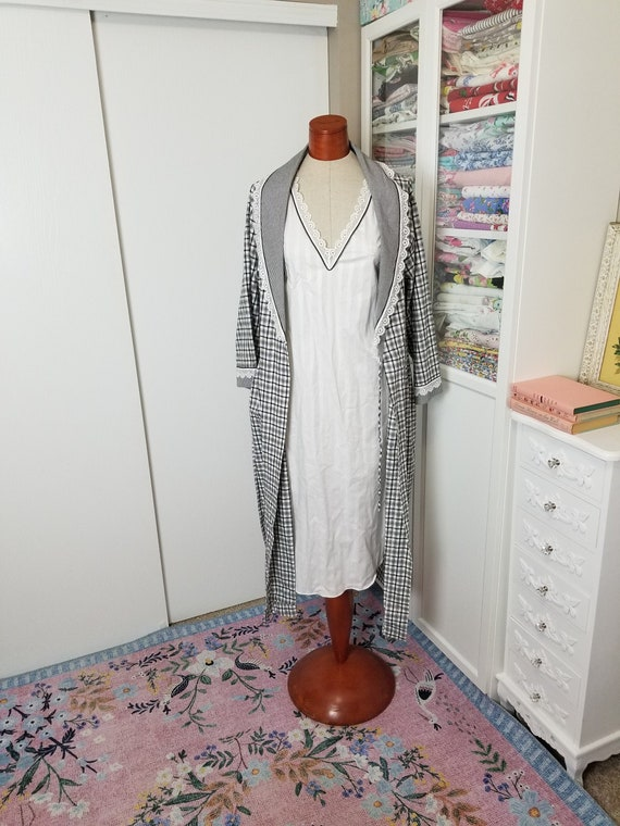 Vintage 1980's Christian Black And White Plaid Gin