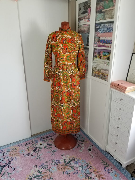 Vintage 1960's or 70's Paisley Maxi Dress with Lo… - image 1