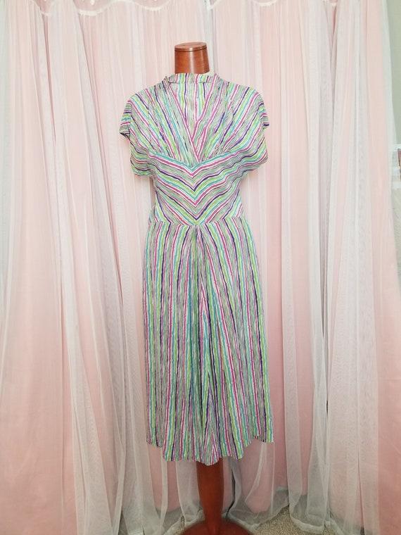 Vintage 1940's  Rainbow Striped Silk Day Dress / X