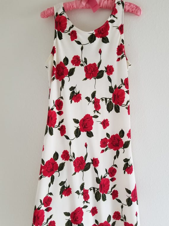 Vintage 1980's Bias cut Rose Print Slip Dress - image 4