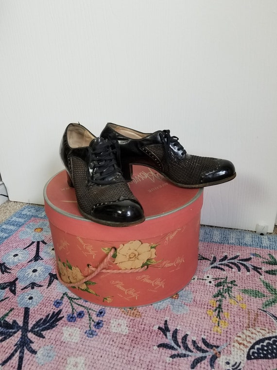 Vintage 1940's Black Lace Up  Summer Shoes Size 8… - image 9
