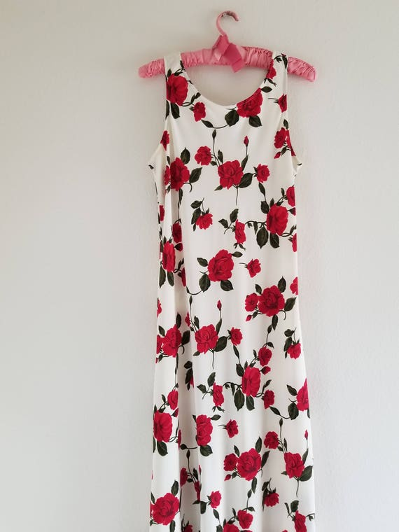 Vintage 1980's Bias cut Rose Print Slip Dress - image 3