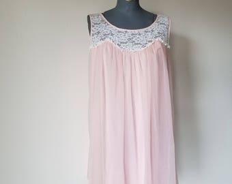 Vintage 1950's Pink Nylon Chiffon Peignoir Babydoll