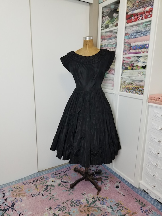 Vintage 1950's Black Taffeta Tiered Party Dress by