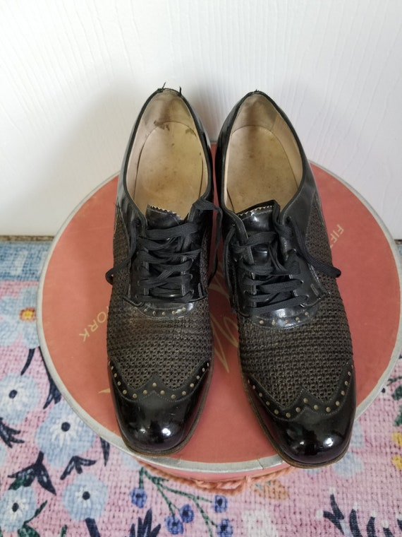 Vintage 1940's Black Lace Up  Summer Shoes Size 8… - image 5