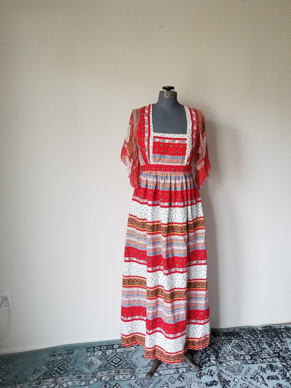 Vintage 1970's Red Bohemian Hippie Dress in Calico