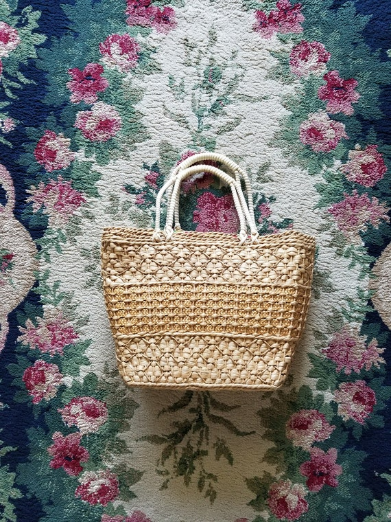 Vintage 1950's 60's Straw Purse Tote with Telephon