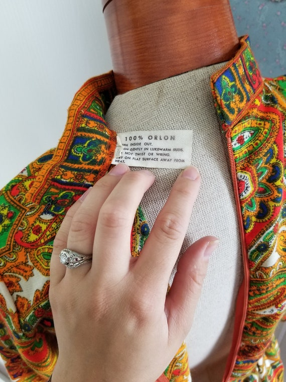 Vintage 1960's or 70's Paisley Maxi Dress with Lo… - image 8