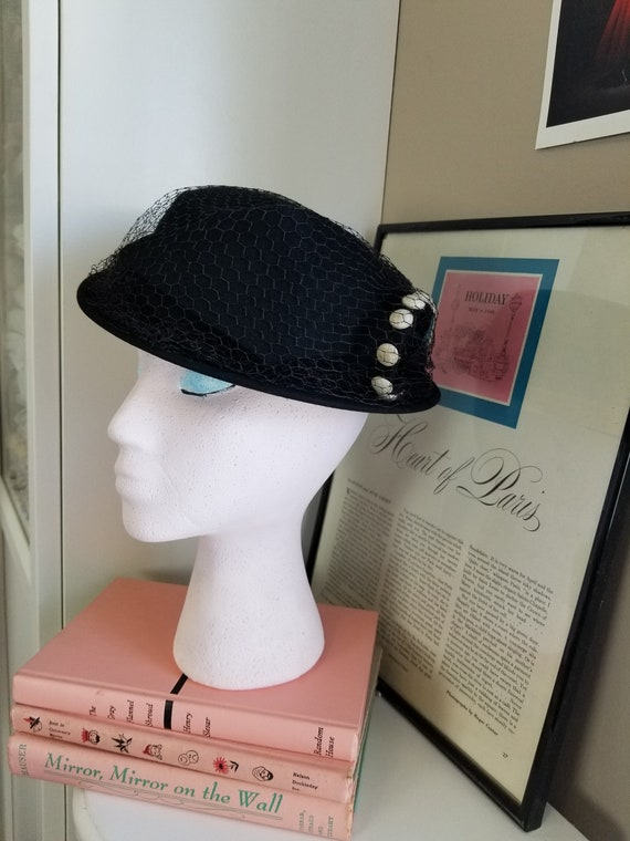Vintage 1940's Black Wool Felt New York Creations