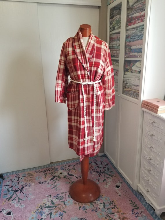 Vintage 1940's / 50's Red Beacon Blanket Robe Mens
