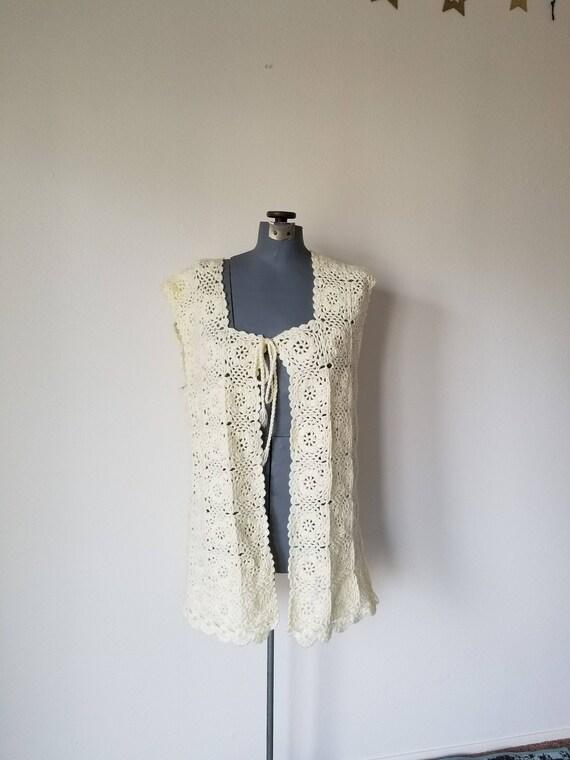 Vintage 1970's Knitted Cream Vest Granny Squares